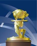 atlant τράπεζα που φέρνει χρυσό pig διανυσματική απεικόνιση
