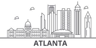 Atlanta architecture line skyline illustration. Linear vector cityscape with famous landmarks, city sights, design icons Royalty Free Stock Images