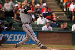 Atlanta braves batter with ball in frame Stock Images