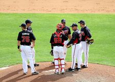 Atlanta braves huddle Royalty Free Stock Images