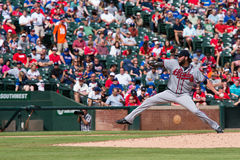 Atlanta braves Pitcher pitching with room for copy Royalty Free Stock Photo