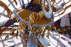 Atlanta Carnival Black and Silver Headdress Man 2. A man wearing a black, silver, and gold outfit during a parade for Atlanta Caribbean Carnival 2014 Royalty Free Stock Images