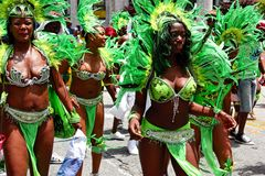 Atlanta Carnival Green Feather Girls Royalty Free Stock Images