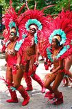 Atlanta Carnival Red Feather Girls Stock Photo