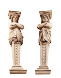 ATLANTA and Caryatid. Sculptural group. Isolated on white background Royalty Free Stock Photos