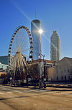 Atlanta cityscape with ferris wheel and skyscrapers Royalty Free Stock Photos
