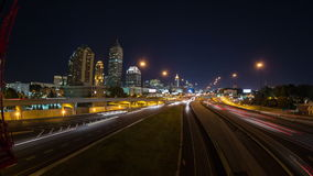 Atlanta Cityscape Time Lapse Pan. V1. Very cool panning time lapse across entire bridge with Atlanta cityscape and traffic in background stock video
