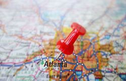 Atlanta. Closeup of a map of Atlanta Georgia, with red tack Stock Photo