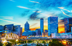 Atlanta del centro alla notte Fotografia Stock Libera da Diritti