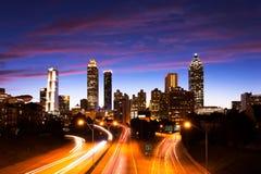 Atlanta do centro no crepúsculo foto de stock