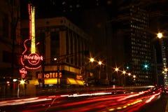 Atlanta Downt Hard Rock Cafe et sirènes la nuit Photographie stock