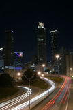 Atlanta Downtown. Typical Atlanta down night view with curving traffic light track Stock Images