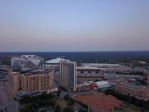 Mercedes-Benz Stadium and buildings from above. Downtown Atlanta buildings from drone above in morning time, Mercedes-Benz Stadium and CNN buildings stock image