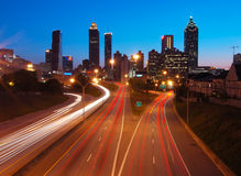 Atlanta Downtown during dusk. Atlanta downtown Overlook's View at Dusk, curving traffic track provide more features Royalty Free Stock Image