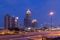 Atlanta downtown at dusk. With traffic Royalty Free Stock Photography