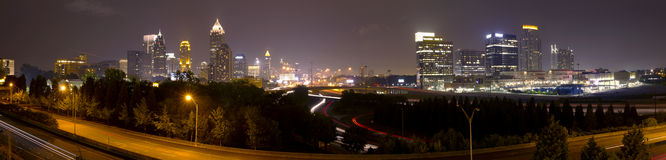 Atlanta downtown panorama at dusk. With tallest building, traffic, and bridge Stock Photo