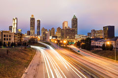 Atlanta downtown skyline at dusk Royalty Free Stock Images