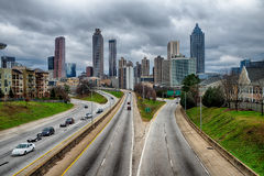 Atlanta downtown skyline scenes in january on cloudy day Royalty Free Stock Photos