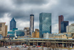 Atlanta downtown skyline scenes in january on cloudy day Stock Photography
