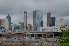 Atlanta downtown skyline scenes in january on cloudy day Stock Photos