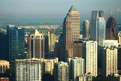 Atlanta from the east. Atlanta& x27;s north side buildings illuminated by the sunrise royalty free stock image