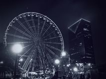 Atlanta Ferris Wheel Black and White Stock Image