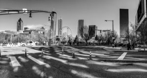 View to downtown and Centennial Olympic Park stock photos