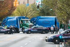 Police And Garbage Trucks Prevent Possible Terrorism Acts At Parade Royalty Free Stock Photo