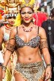 Brazilian Dancer Walks With Confidence In Atlanta Halloween Parade. Atlanta, GA, USA - October 21, 2017:  A Brazilian dancer walks with confidence as she takes Royalty Free Stock Photos