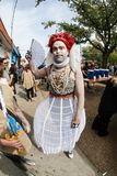 Man Wears Alice In Wonderland Queen Costume At Halloween Parade. Atlanta, GA, USA - October 21, 2017:  A man dressed like the Queen of Hearts from Alice in Royalty Free Stock Photography