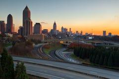 Atlanta Georgië bij Zonsondergang Stock Fotografie