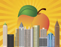Atlanta Georgia City Skyline  with Peach Stock Photos