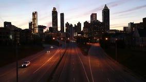 Atlanta Georgia Dusk. Atlanta Georgia downtown skyline cityscape at dusk stock video