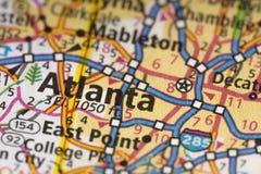 Atlanta, Georgia en mapa Imagen de archivo