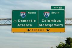 Atlanta Georgia Highway Interstate Signs fotografía de archivo