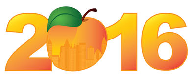 2016 Atlanta Georgia with Peach Color Vector Illustration. 2016 New Year Atlanta Georgia City Skyline in State Official Peach Fruit Outline Silhouette Numerals stock illustration