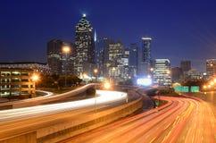 Atlanta, Georgia Skyline. Atlanta Georgia skyline above Interstate 85 Stock Photo