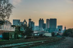 Atlanta Georgia Skyline Perspective From Castleberry Hill stock photography