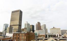 Atlanta Georgia Skyline Perspective From Underground Atlanta fotografie stock