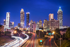 Atlanta, Georgia Skyline. Atlanta, Georgia, USA skyline over Freedom Parkway Stock Photo