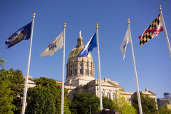 Atlanta Georgia State Capital Gold Dome City Architecture Flags Royalty Free Stock Photos