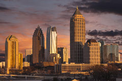 Atlanta Georgia Sunset Skyline Foto de archivo libre de regalías