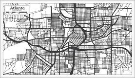 Atlanta Georgia USA City Map in Retro Style Black and White Colo. R. Outline Map. Vector Illustration Royalty Free Stock Images