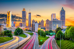 Atlanta, Georgia, USA. Downtown city skyline over Freedom Parkway Stock Image