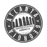 Atlanta Georgia USA Round Button City Skyline Design Stamp Vector Travel Tourism. Skyline with emblematic Buildings and Monuments of this famous city stock illustration