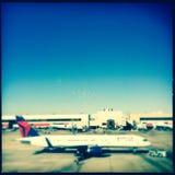 Atlanta Hartsfield airport. An airplane on a runway of Atlanta Hartsfield airport Royalty Free Stock Photo