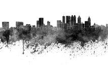Atlanta horisont i svart vattenfärg vektor illustrationer