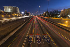Atlanta Interstate 85 Freeway Night Stock Photography