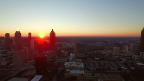 Atlanta-Luftstadtbild-Sonnenuntergang stock footage