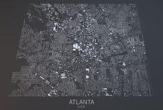 Atlanta, mapa, visión por satélite, Estados Unidos libre illustration
